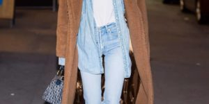 Elsa Hosk wearing denim on denim