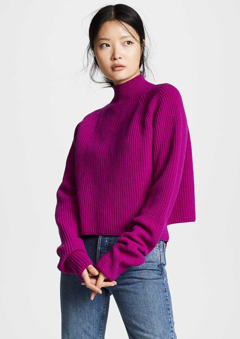 Casual jeans outfit idea. Borgo de Nor Wool Turtleneck Sweater, Fuschia