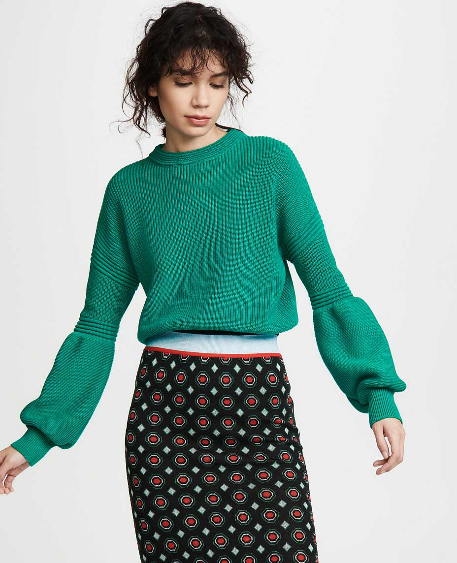 Casual jeans outfit idea. The Fifth Label Explore Knit Sweater, Green