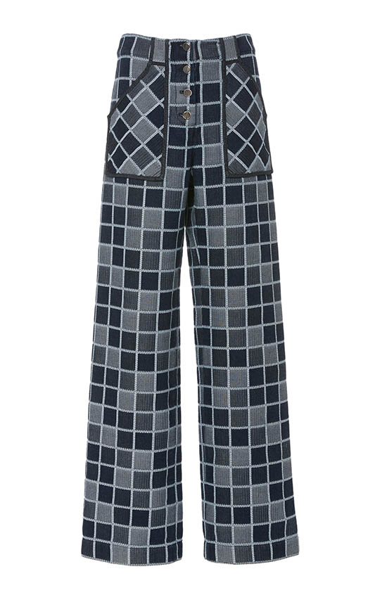 casual jean outfits, Rosetta Getty Checkered High-Rise Wide-Leg Jeans.