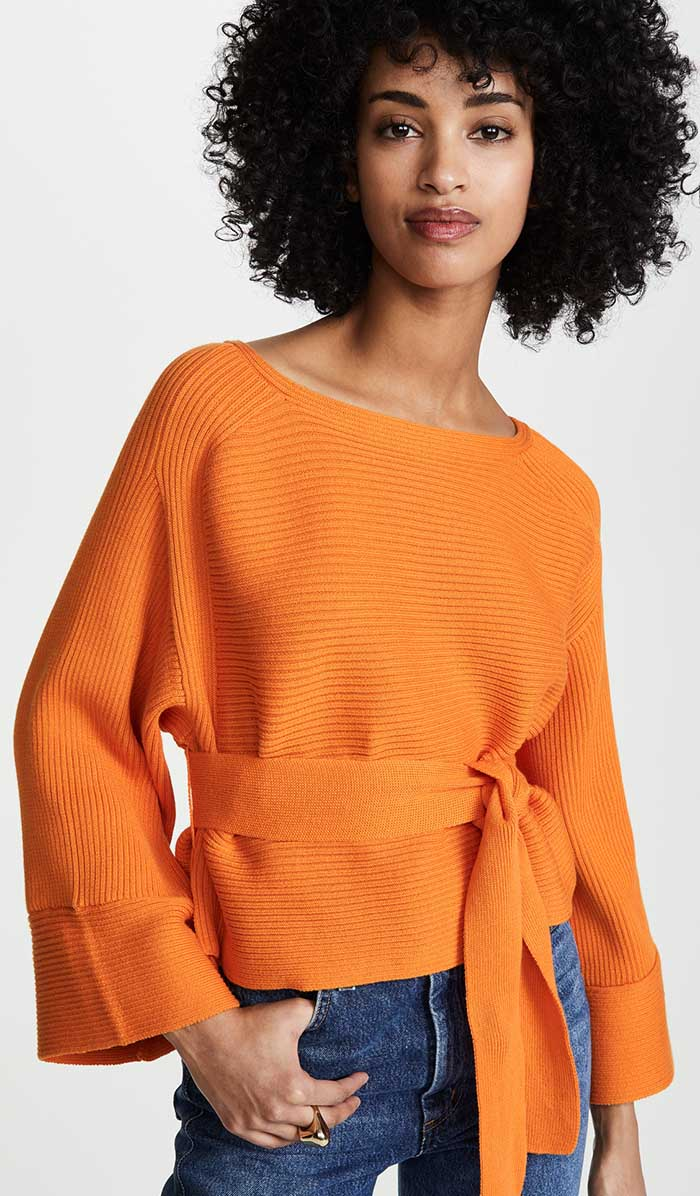 Casual jeans outfit idea. Mara Hoffman Lilou Top, Orange