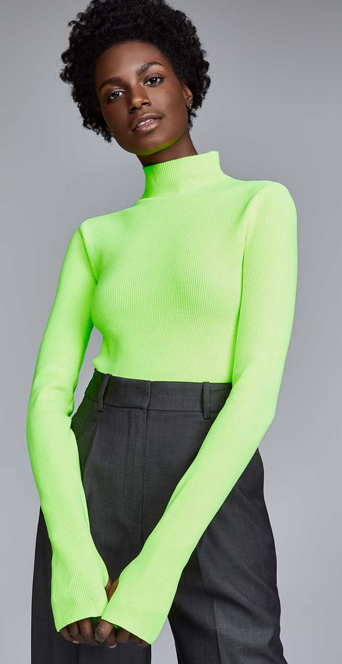 Casual jeans outfit idea. Helmut Lang Mock Neck Pullover, Plastic Green