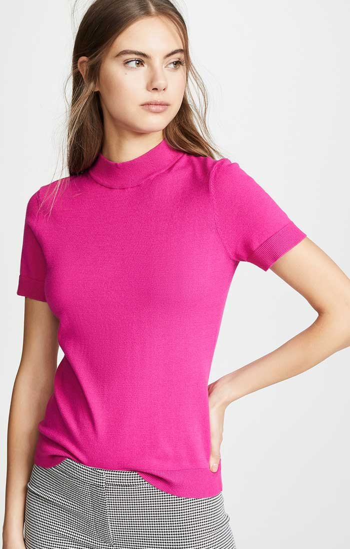 Casual jeans outfit idea. Milly Mod Neck Top, Raspberry.