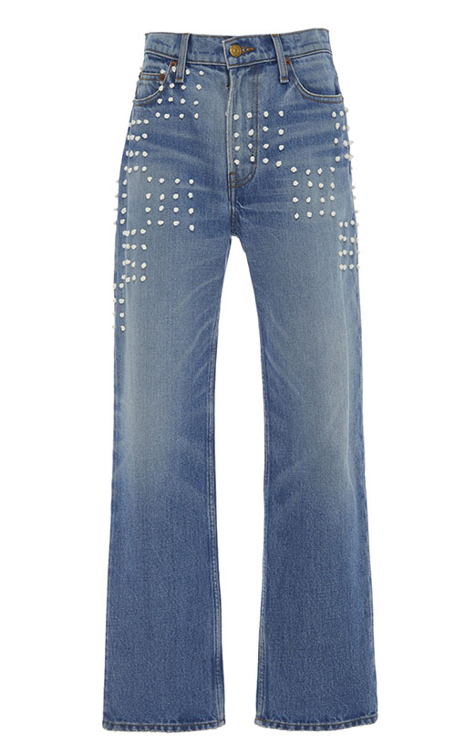 casual jean outfits, B SIDES Arts Embroidered Mid-Rise Straight-Leg Jeans