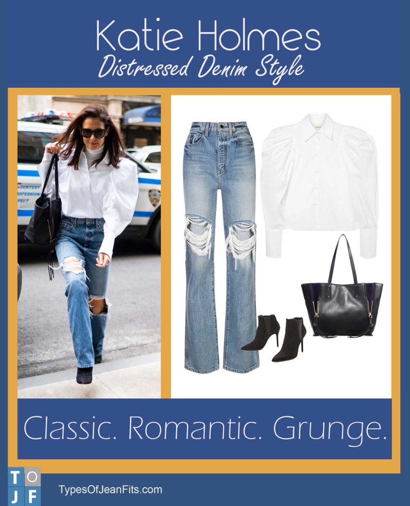 Katie Holmes, distressed jeans, puffy sleeve shirts