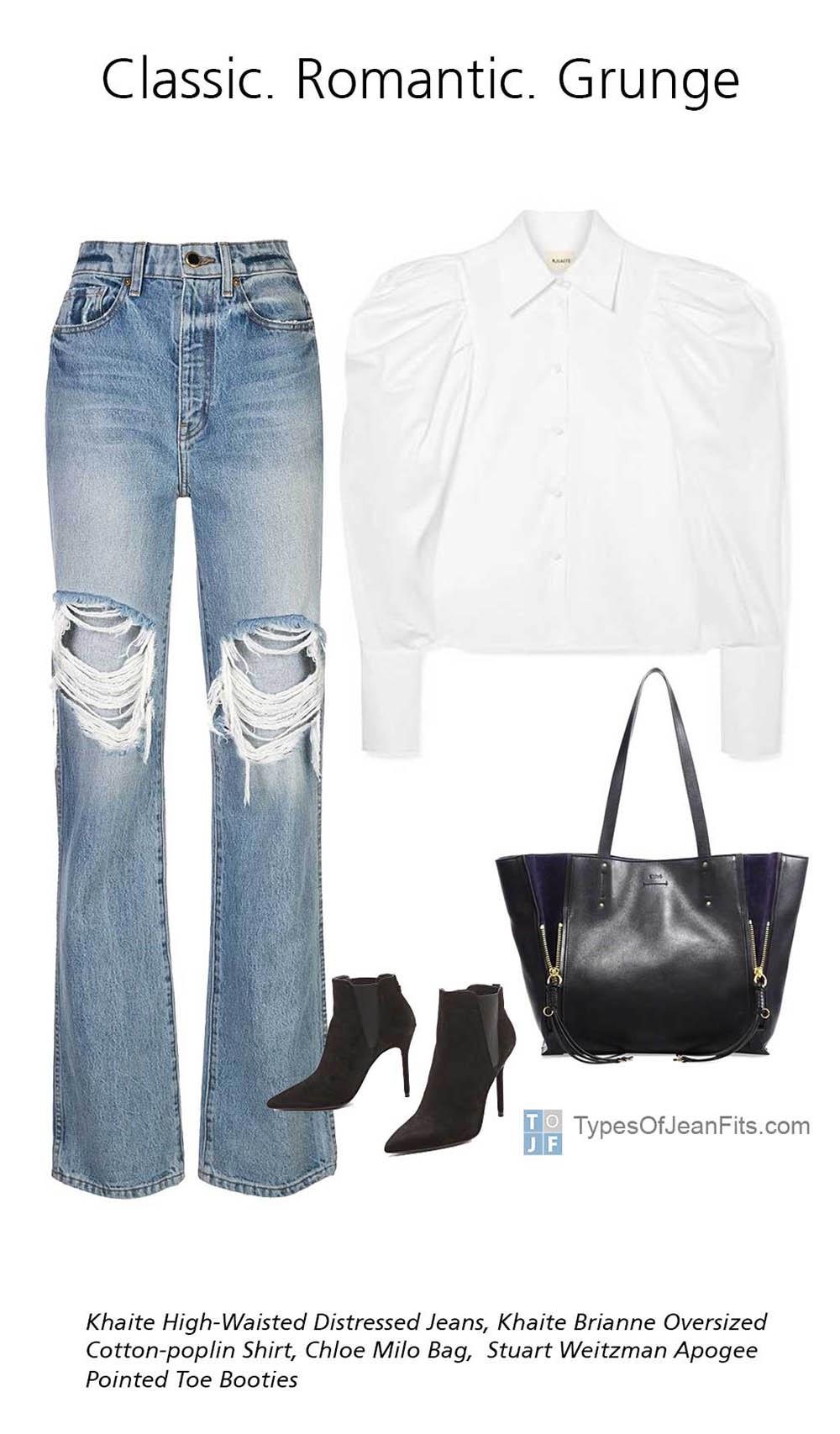 Khaite Brianne Oversized Cotton-poplin Shirt, Khaite High-Waisted Distressed Jeans, Stuart Weitzman Black Apogee Pointed Toe Booties, Black Chloe Milo Bag, Ripped Jeans