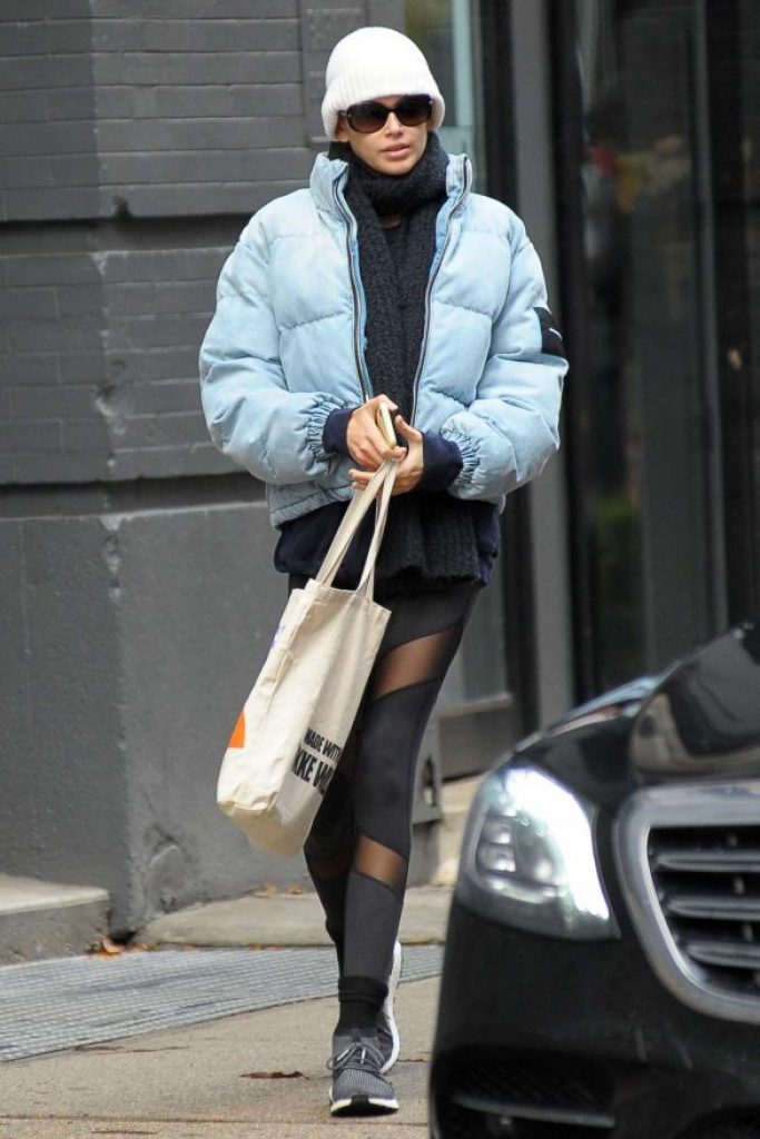 kaia gerber style, alexander wang, denim puffer jacket, denim puffer coat, denim jacket, jean jacket, get the look, steal her style, outfit id, outfitid