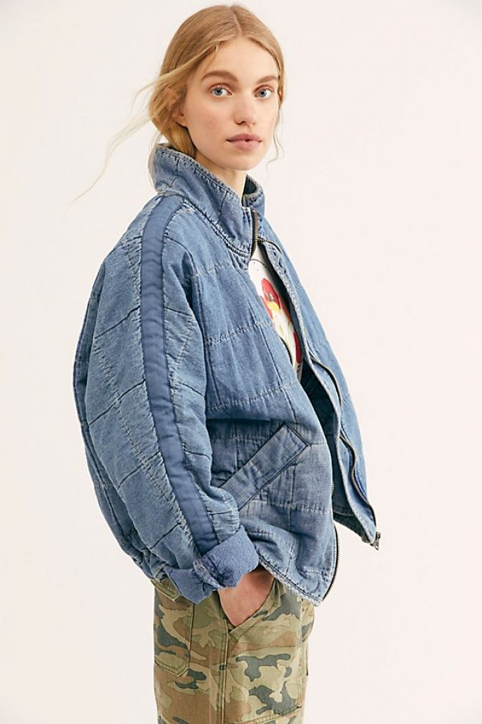 free people, quilted denim jacket, kaia gerber style, alexander wang, denim puffer jacket, denim puffer coat, denim jacket, jean jacket, get the look, steal her style, outfit id, outfitid
