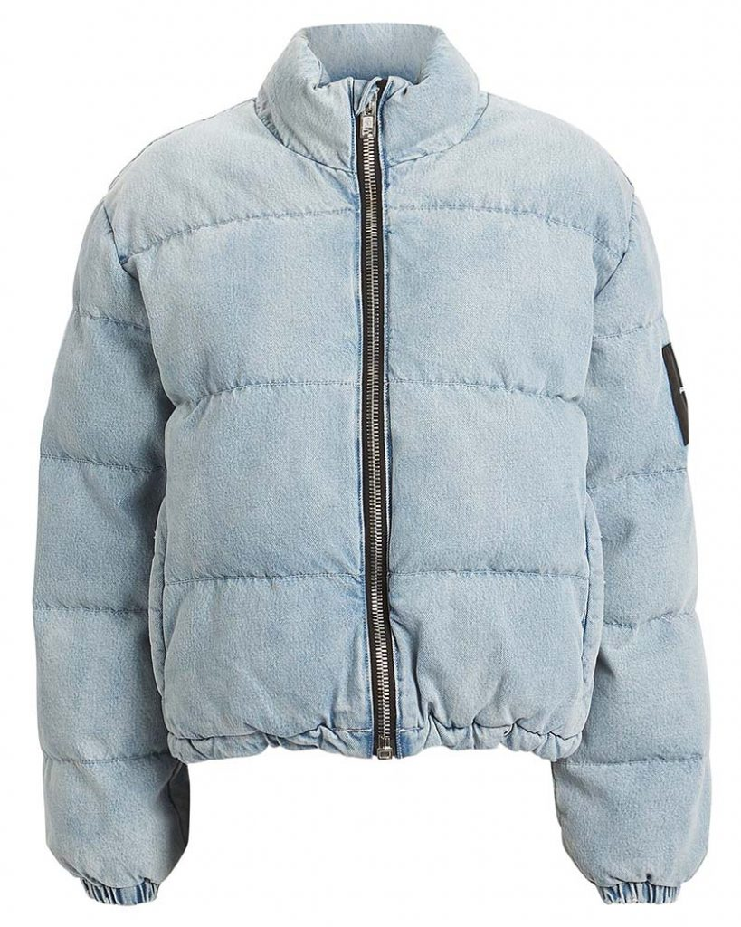Kaia Gerber style, Alexander Wang,  Denim puffer jacket, Get the look, Steal her style, Outfit ID