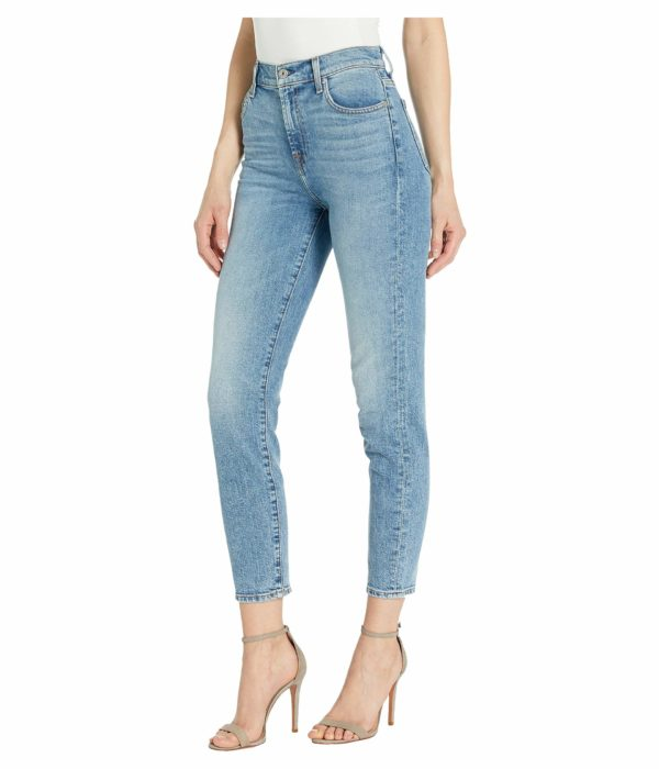 best jeans for a rectangle body shape, straight figure, boyish figure, ruler shape, 7 For All Mankind crop jeans