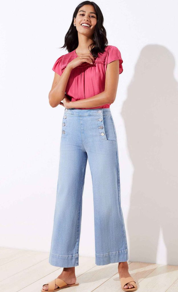 different jean styles, sailor jeans, wide leg crop jeans