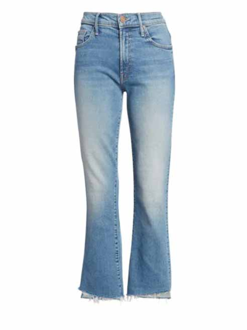 mother insider crop step fray jeans, cropped jeans women