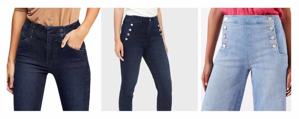 Women's Jean Styles, sailor jeans front buttons