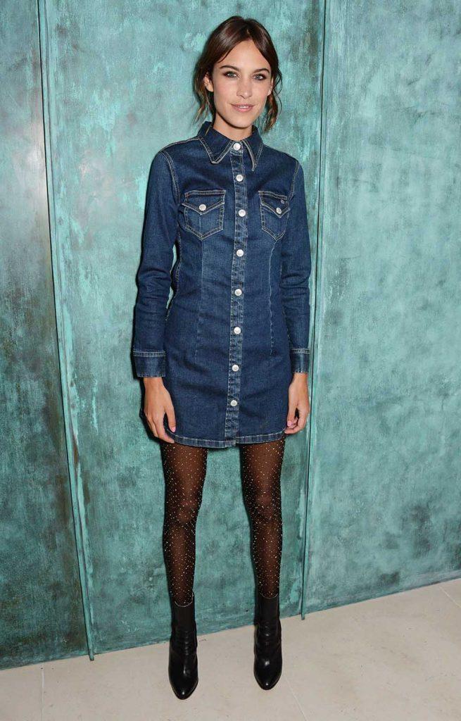 Alexa Chung, denim dress