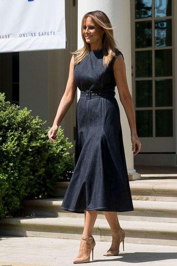 denim dress, denim tea dress, Melania Trump in a dress by Emilia Wickstead