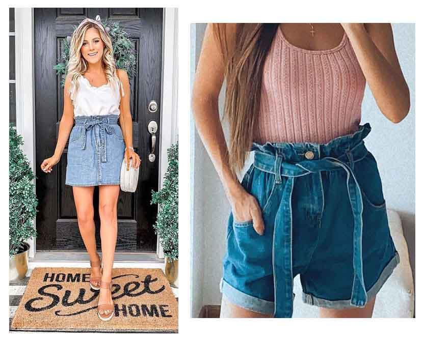 paperbag skirt, paperbag shorts