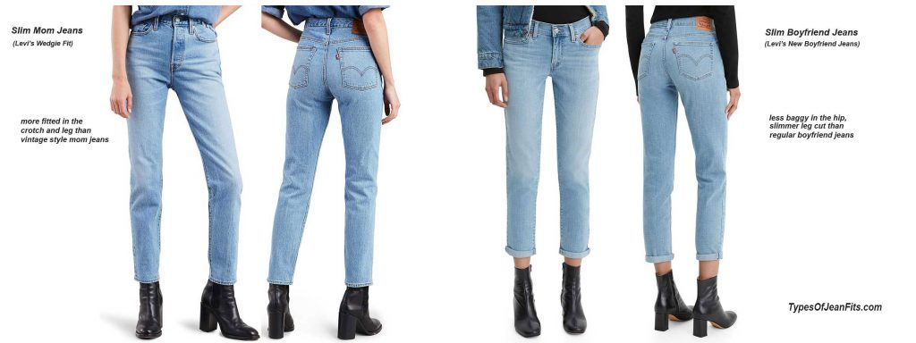 boyfriend jeans vs mom jeans, levi's jeans