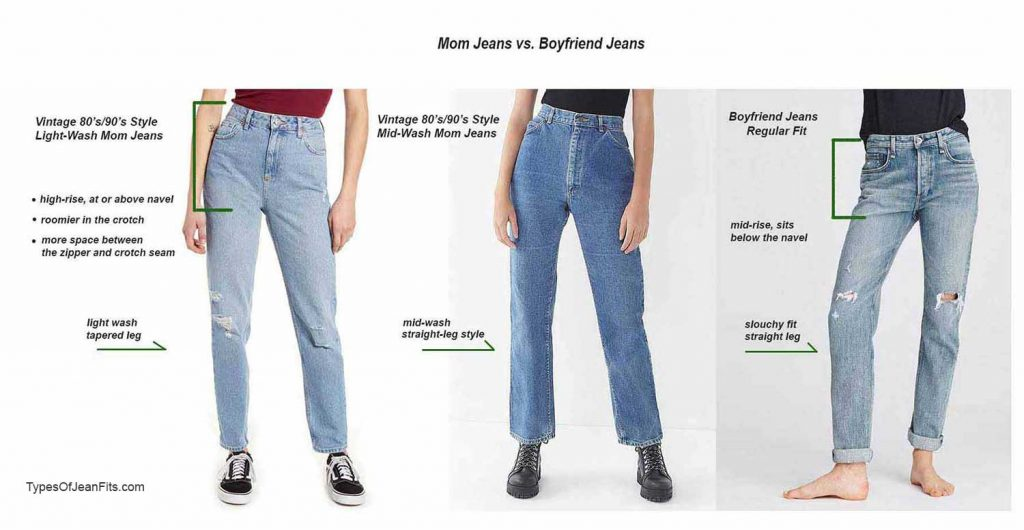 mom jeans vs boyfriend jeans, difference between mom jeans and boyfriend jeans