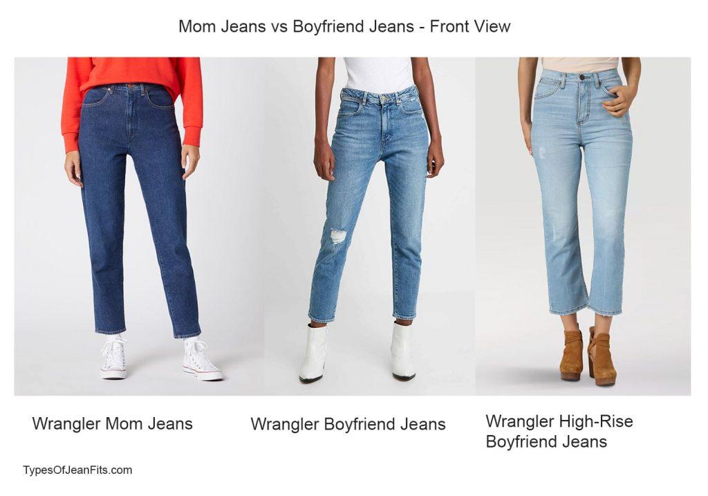 boyfriend jeans vs mom jeans, wrangler jeans