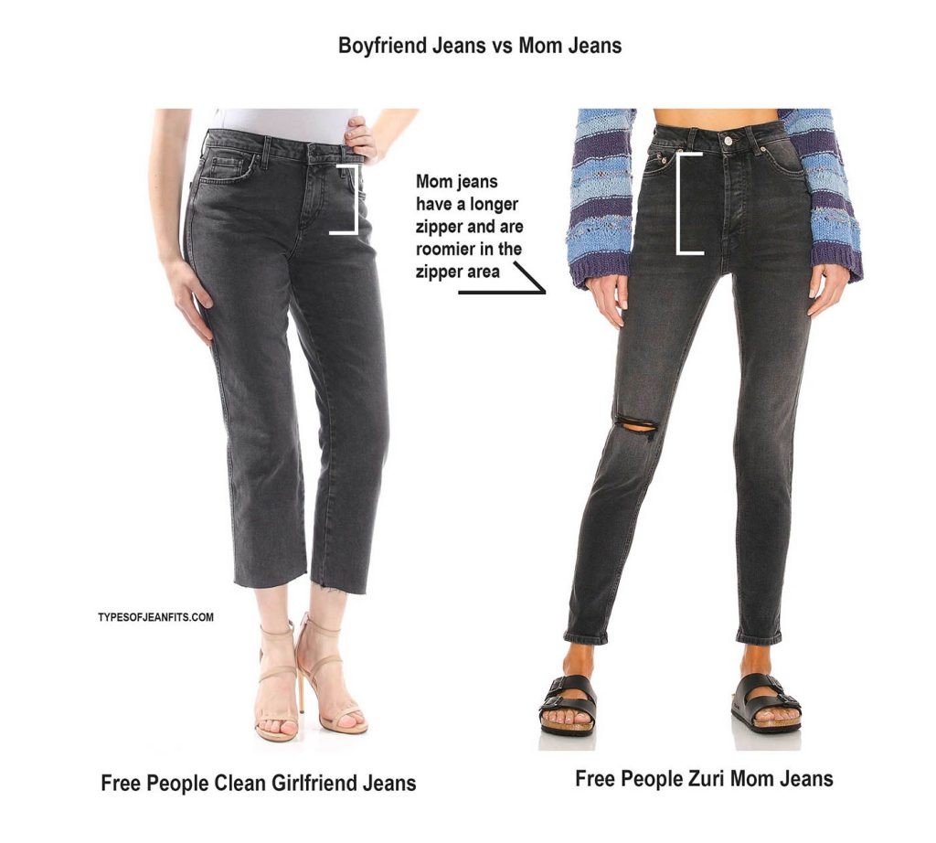 what is the difference between mom jeans and boyfriend jeans
