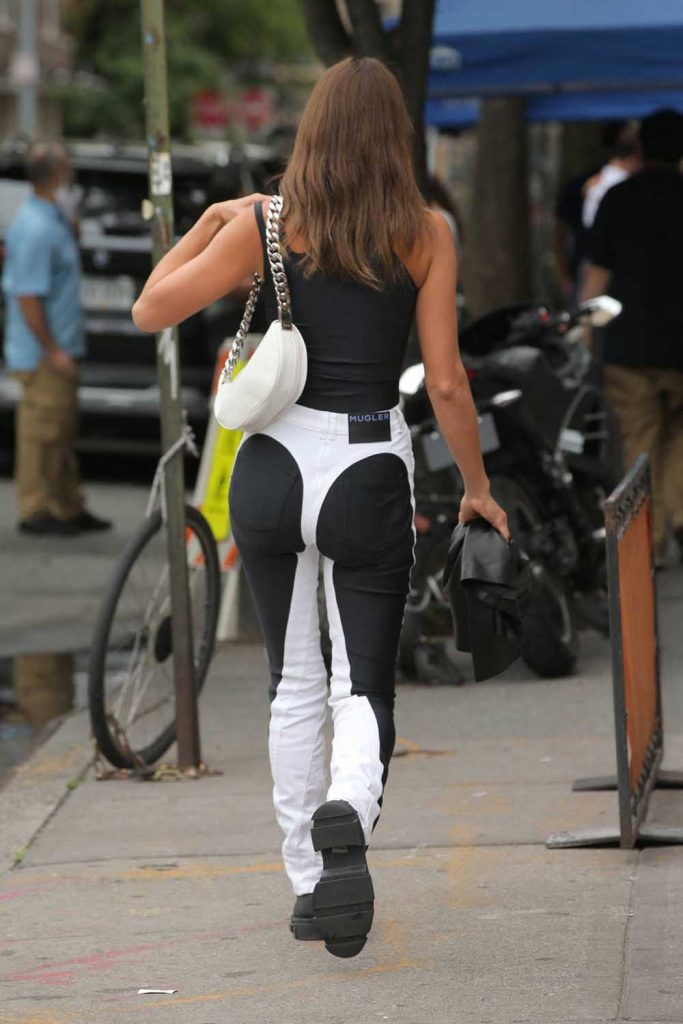 Irina Shayk, thong jeans, black and white jeans, mugler jeans